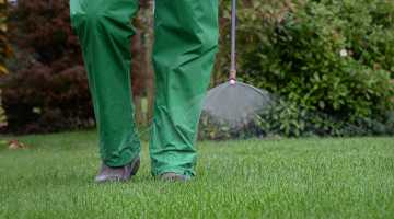 Lawn Operative Wearing Full PPE, Applying a Herbicide Spray